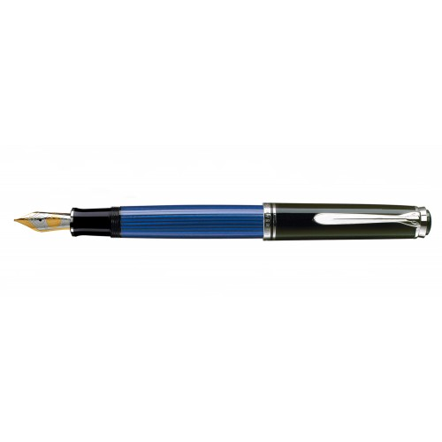 PELIKAN SOUVERAN M805 BLACK-BLUE-SILVER FOUNTAIN PEN