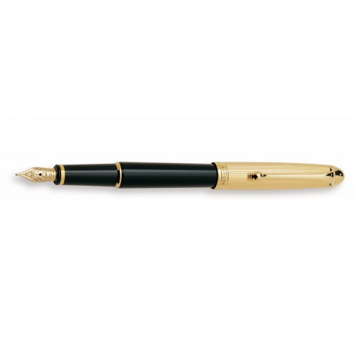 AURORA 88 BLACK BARREL WITH GOLD PLATED CAP FOUNTAIN PEN