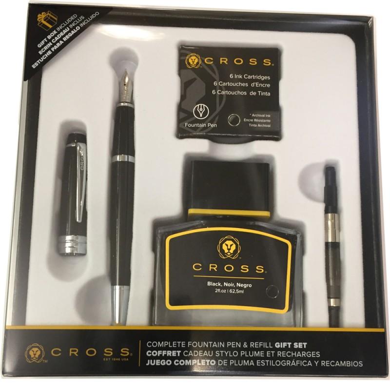 CROSS BAILEY BLACK LACQUER GIFT BOX FOUNTAIN PEN + INK