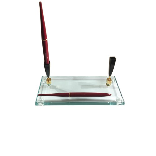 PEN HOLDER BASE With TWO Ballpoint Pen Bordeaux