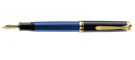 PELIKAN SOUVERAN M600 BLACK-BLU FOUNTAIN PEN