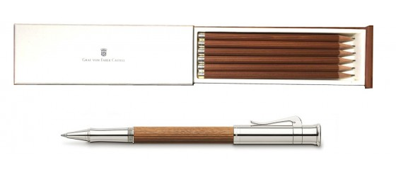 SET GRAF VON FABER-CASTELL CLASSIC PERNAMBUCO PLATINUM PLATED ROLLERBALL WITH PENCIL