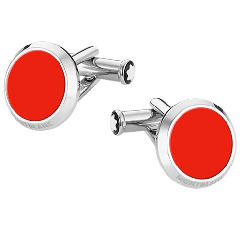 MONTBLANC Cufflinks round in stainless steel with RED resin