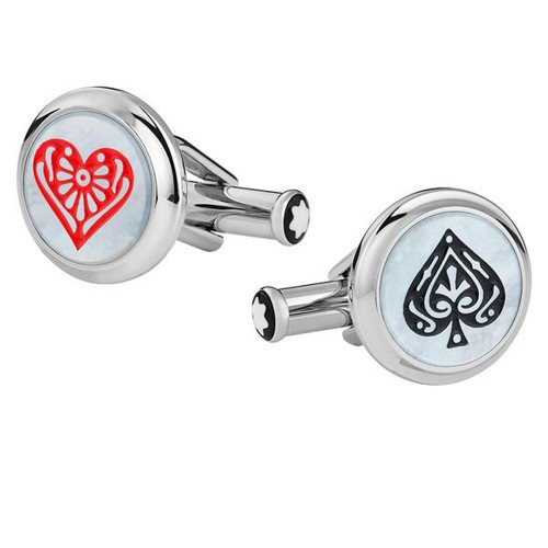MONTBLANC TRIBUTE TO THE BOOK ROUND THE WORLD IN 80 DAYS SPADE & HEART CUFFLINKS